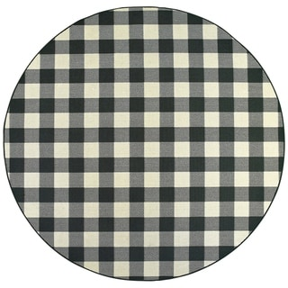 """The Gray Barn Garland Gale Gingham Black and Ivory Indoor/ Outdoor Area Rug - 7'10"""" Round"""