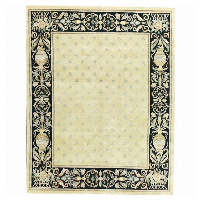 Nourison Hand-knotted Court of Versailles Gold Wool Rug (7'9 x 9'9)