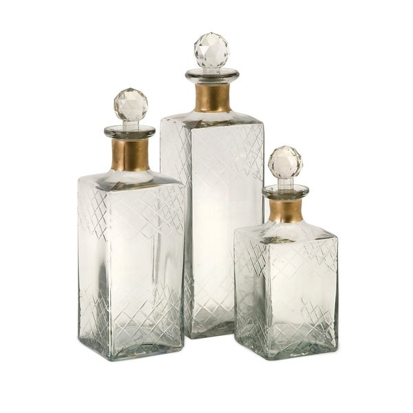 Classy Set of 3 Hampshire Etched Decanters