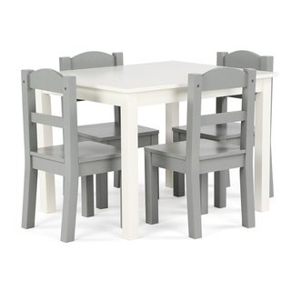 Springfield 5-Piece Wood Kids Table & Chairs Set in White/Grey