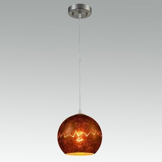 Modern Globe Pendant Light with Copper Foil Glass Shade, Brushed Nickel