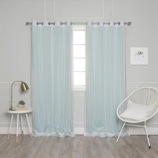 "Aurora Home Mix & Match Modern Dot and Blackout 4 Piece Curtain Panel Set - 52""W x 84""L"