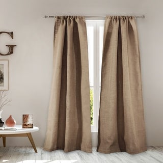 Greenland Home Burlap Curtain Panel Pair with Tiebacks