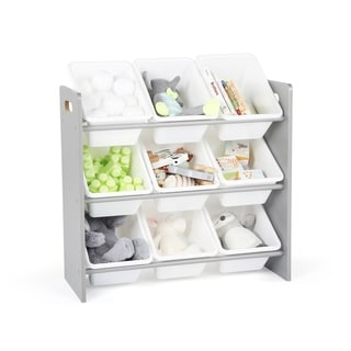 Tot Tutors Grey/White Kids Toy Storage Organizer w/ 9 Plastic Bins, Inspire Collection