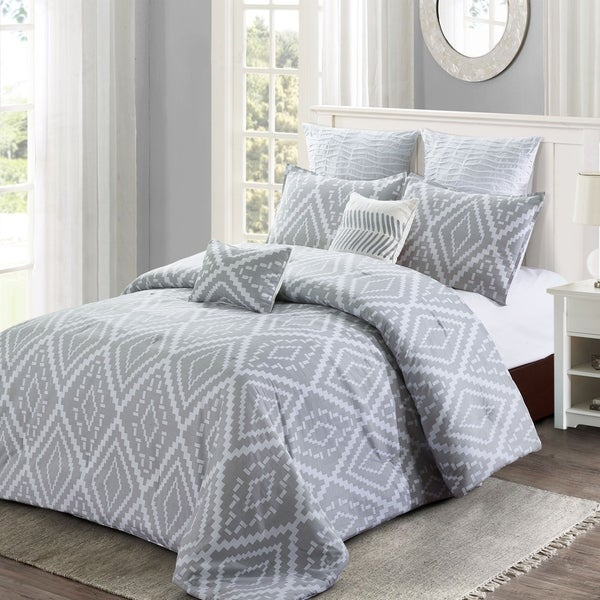 Style quarters - Ikat Geo 7pc Comforter Set - 100% cotton - Gray Ikat Abstract Geometric Pattern - Machine Washable - Queen 36377977