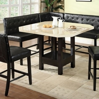 Marble Top Wooden Contemporary Counter Height Table, Black