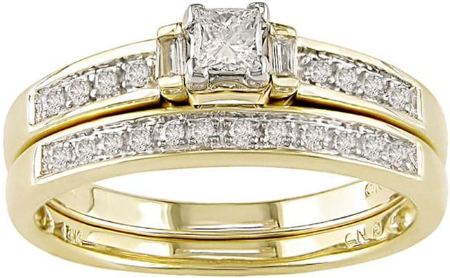 Miadora 14k Yellow Gold 1/3ct TDW Diamond Bridal Ring Set (H-I, I1-I2)