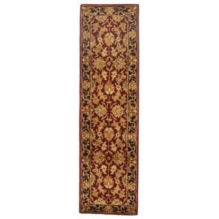 Handmade Heritage Kashan Burgundy/ Black Wool Rug (2' x 10')