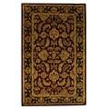 Handmade Heritage Kashan Burgundy/ Black Wool Rug (3' x 5')