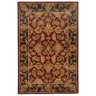Handmade Heritage Kashan Burgundy/ Black Wool Rug (4' x 6')