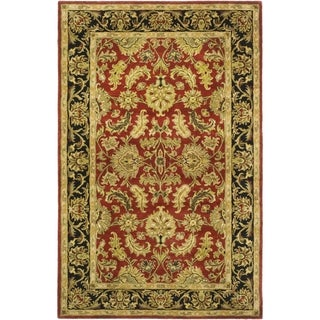 Safavieh Handmade Heritage Kashan Burgundy/ Black Wool Rug (5' x 8')
