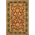 Handmade Heritage Kashan Burgundy/ Black Wool Rug (5' x 8')