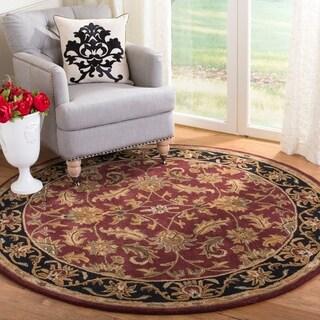 Safavieh Handmade Heritage Kashan Burgundy/ Black Wool Rug (6' Round)