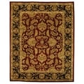 Handmade Heritage Kashan Burgundy/ Black Wool Rug (7&#39;6 x 9&#39;6)