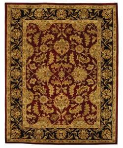 Handmade Heritage Kashan Burgundy/ Black Wool Rug (9'6' x 13'6)