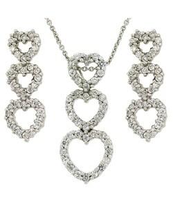Icz Stonez Sterling Silver CZ Triple Heart Earrings and Pendant