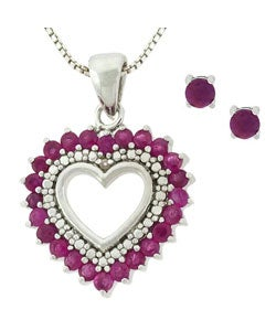 Glitzy Rocks Sterling Silver Ruby Heart Earring Pendant Set