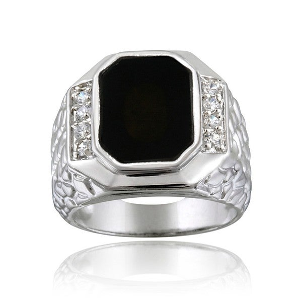Icz Stonez Sterling Silver Men's Onyx CZ Ring