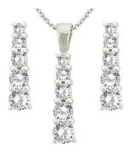 Icz Stonez Sterling Silver CZ Journey Earrings/ Pendant Set