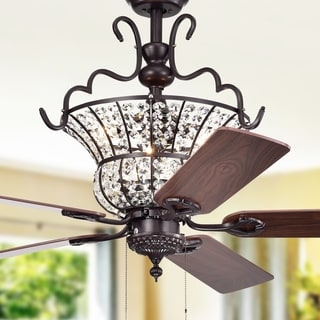 Charla II 3-light Crystal 5-blade 52-inch Brown Ceiling Fan (2 Color Option Fan Blades)