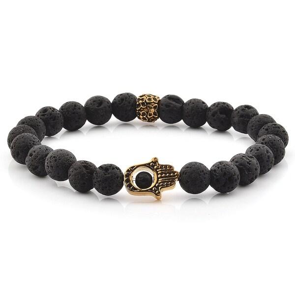 Lava Stone Gold Plated Stainless Steel Hamsa Beaded Bracelet (11.5mm) 36404827