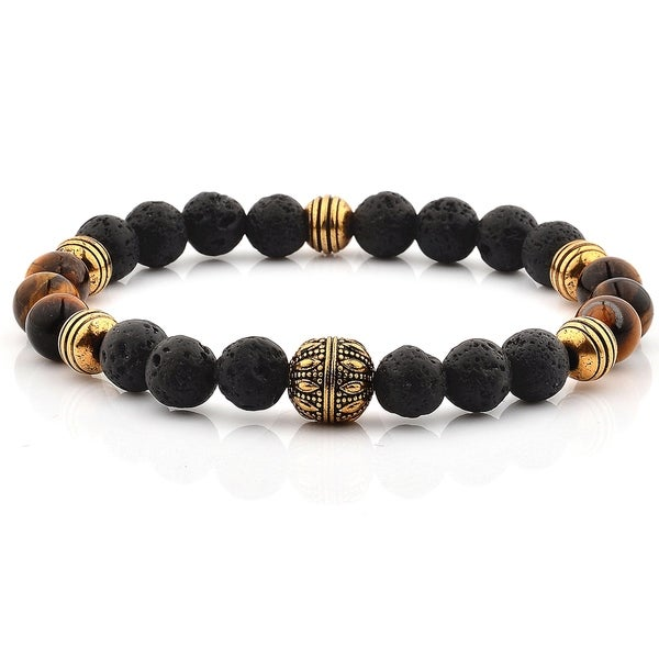 Lava Stone and Tiger's Eye Stone Stainless Steel Beaded Bracelet 36404835