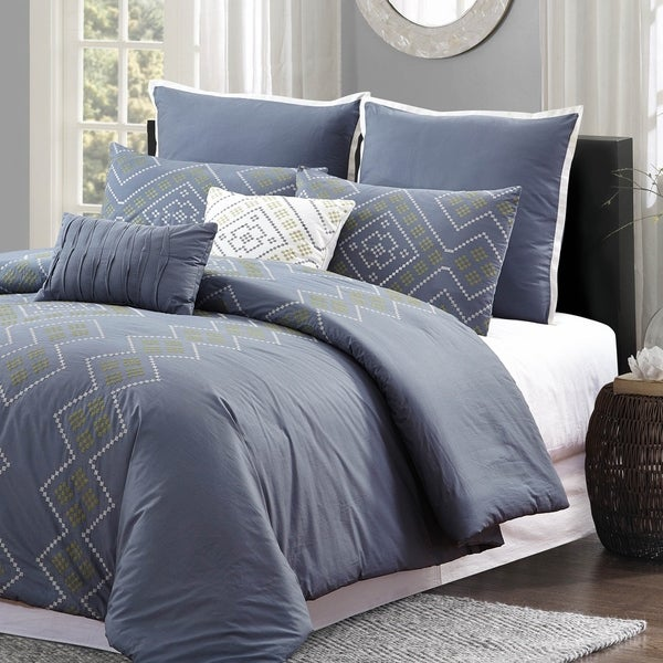 Style Quarters Tribal Geo 7pc Comforter Set - Gray Stitched Diamond Embroidery - 100% Cotton - Machine Washable - Queen 36435956