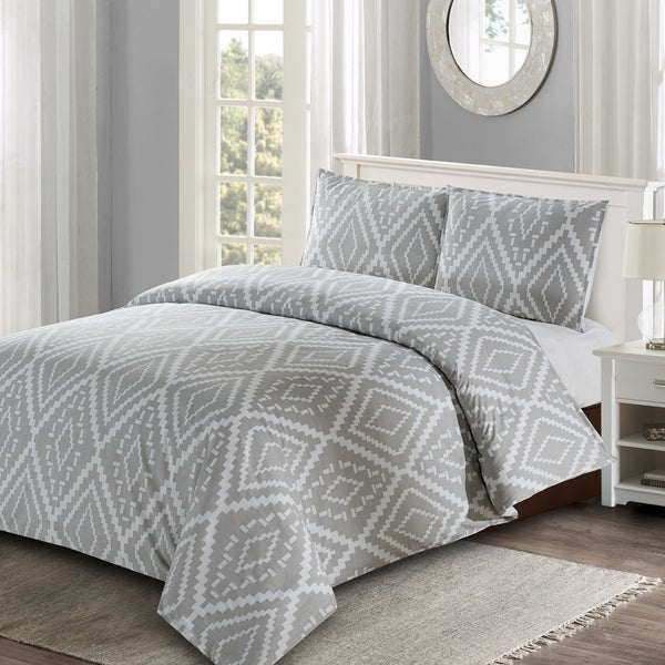 Style Quarters Ikat Geo 3pc Duvet Cover Set - Gray Ikat Abstract Geometric Pattern - 100% Cotton - Machine Washable - Queen 36436255