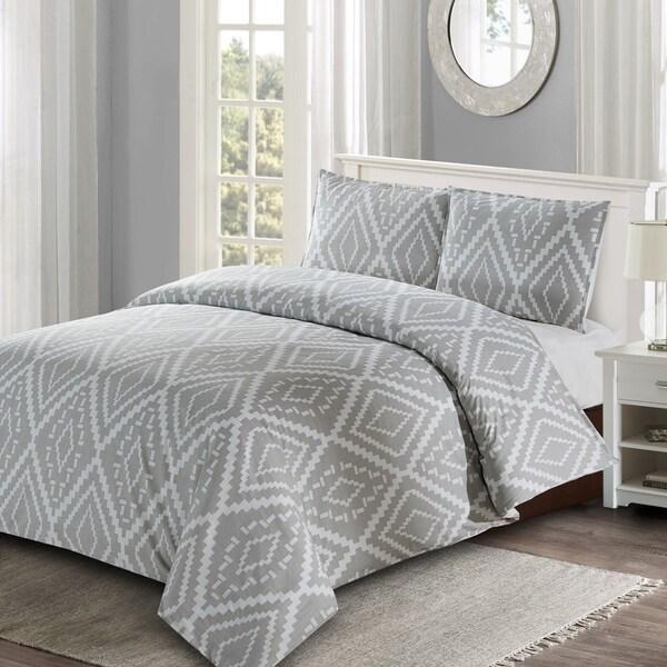 Style Quarters Ikat Geo 3pc Duvet Cover Set - Gray Ikat Abstract Geometric Pattern - 100% Cotton - Machine Washable - King 36436256
