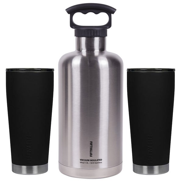 Ultimate Outdoor Insulated Beer Growler Bundle, Black and Stainless Steel 36441192