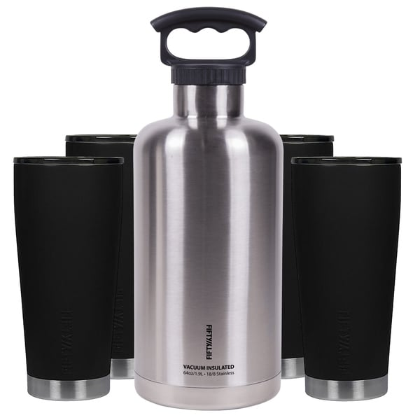Premium Outdoor Insulated Beer Growler Bundle, Black and Stainless Steel 36441320