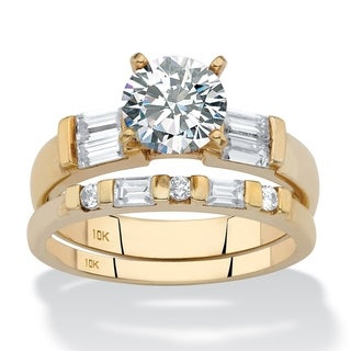 10K Yellow Gold Cubic Zirconia Bridal Ring Set