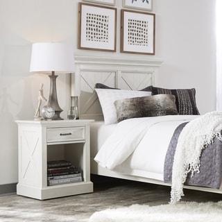 The Gray Barn Riverbone X-detail White Wood Nightstand