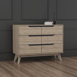 Carson Carrington Eskilstuna Mid-century Oak and Grey Wood 6-drawer Chest