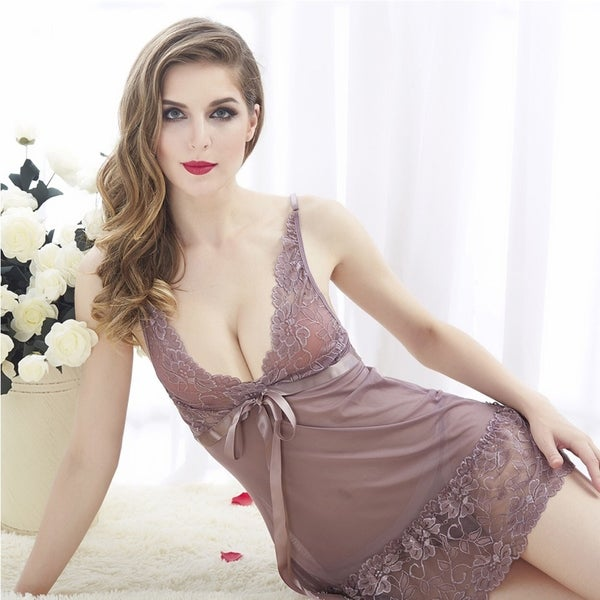 Acappella Sexy Sleepwear with Mesh Floral Lace Satin Bow 36491596
