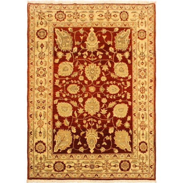 Kafkaz Peshawar Mimi Red/Tan Hand-Knotted Rug (4'10 x 6'6) - 4 ft. 10 in. x 6 ft. 6 in. 36505435