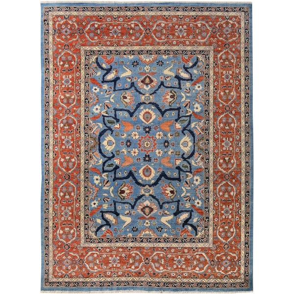 Kafkaz Peshawar Nathanae Lt. Blue/Red Hand-Knotted Rug (7'11 x 9'9) - 7 ft. 11 in. x 9 ft. 9 in. 36505529