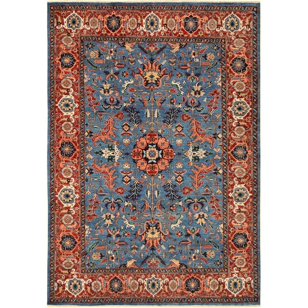 Kafkaz Peshawar Tuan Blue/Red Hand-Knotted Rug (8'10 x 11'11) - 8 ft. 10 in. x 11 ft. 11 in. 36505535