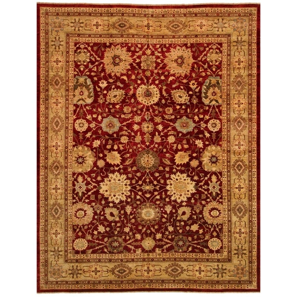 Lahore Peshawar Shanika Red/Lt. Green Hand-Knotted Rug (11'11 x 15'6) - 11 ft. 11 in. x 15 ft. 6 in. 36505991