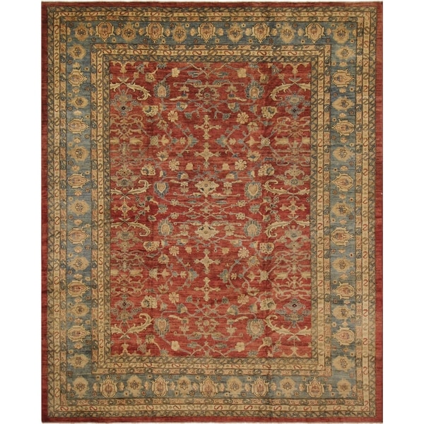 Kafkaz Peshawar Dalila Red/Lt. Blue Hand-Knotted Rug (12'2 x 15'8) - 12 ft. 2 in. x 15 ft. 8 in. 36506007