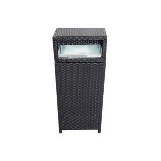 Rattan and Aluminum Outdoor Trash Can Black