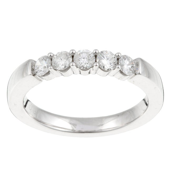 14k White Gold 1/2ct TDW Diamond 5-stone Band (G-H, I1)