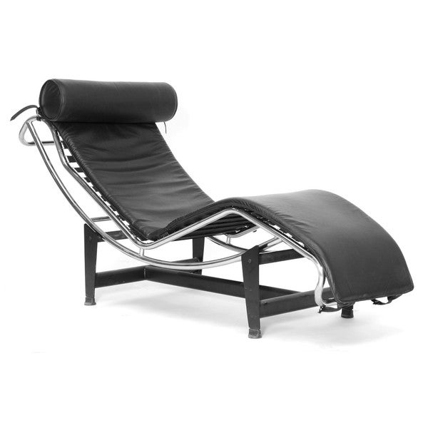 Adjustable black leather chaise lounge 10459941 for Black leather chaise longue