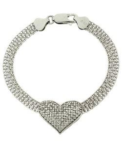 Icz Stonez Sterling Silver CZ Heart Mesh Chain Bracelet