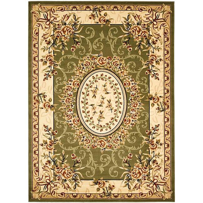 Safavieh Lyndhurst Collection Aubussons Sage/ Ivory Rug (5'3 x 7'6)