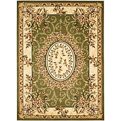 Lyndhurst Collection Aubussons Sage/ Ivory Rug (5'3 x 7'6)