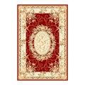 Lyndhurst Collection Aubussons Red/ Ivory Rug (3'3 x 5'3)