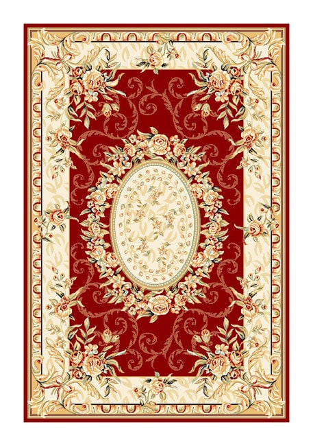 Safavieh Lyndhurst Collection Aubussons Red/ Ivory Rug (5'3 x 7'6)