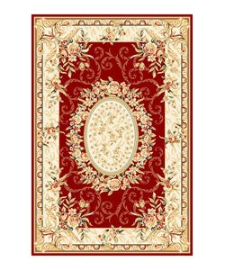 Lyndhurst Collection Aubussons Red/ Ivory Rug (5'3 x 7'6)