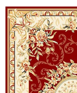 Safavieh Lyndhurst Collection Aubussons Red/ Ivory Rug (8' x 11')